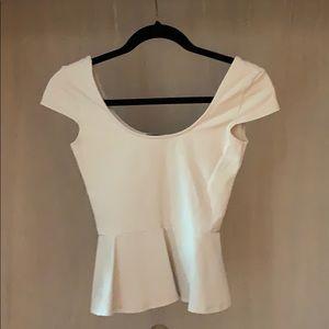 Cap sleeve peplum Bebe Beige shirt